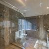 brown tiled bathroom
